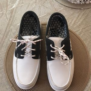 Men's Timberland white and navy boat shoes